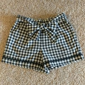 Loft Navy Gingham Bow Shorts